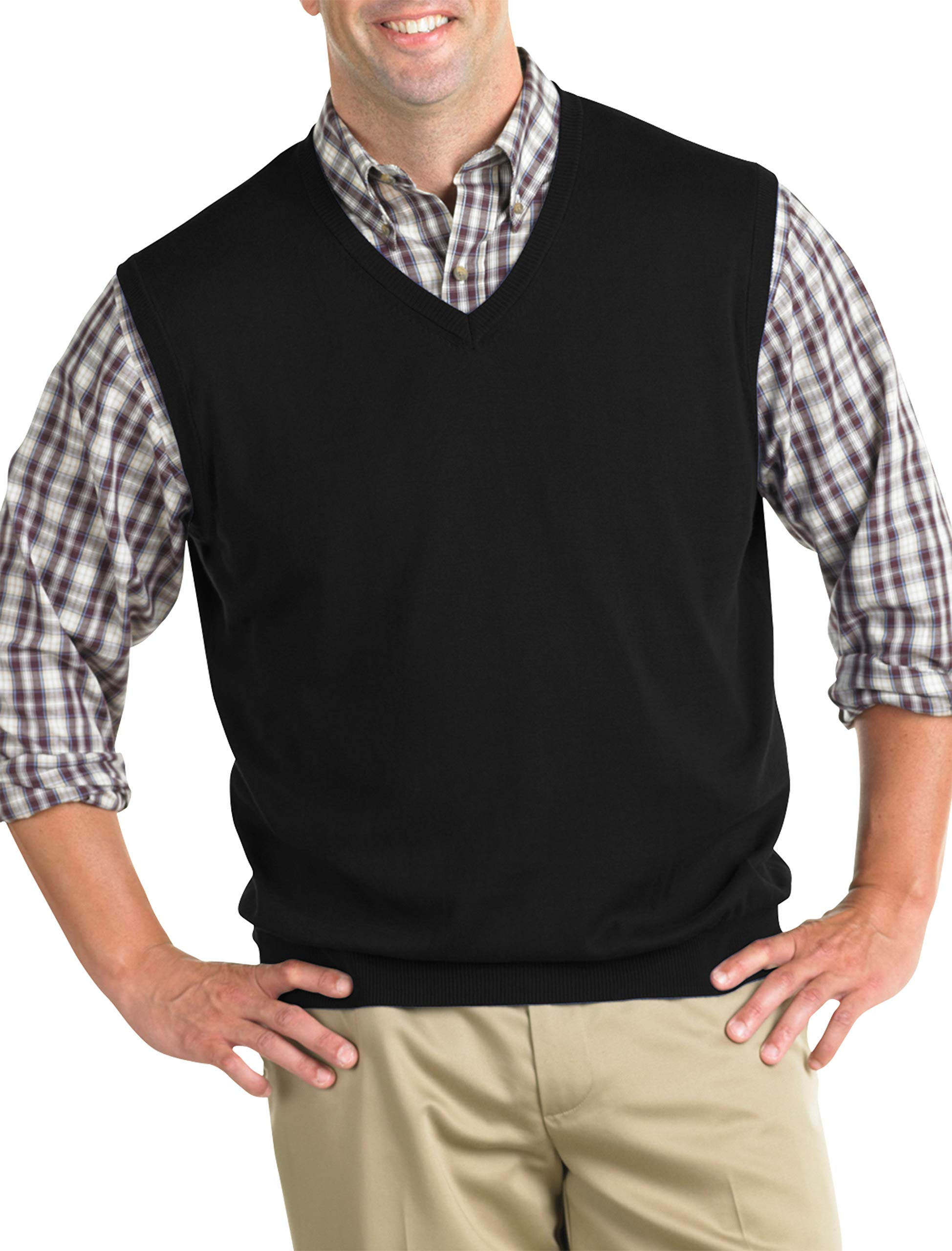 Harbor Bay by DXL Big and Tall V-Neck Sweater Vest by Harbor Bay