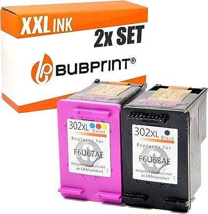 Bubprint Cartuchos de Impresora Compatible con HP 302XL - Color + ...