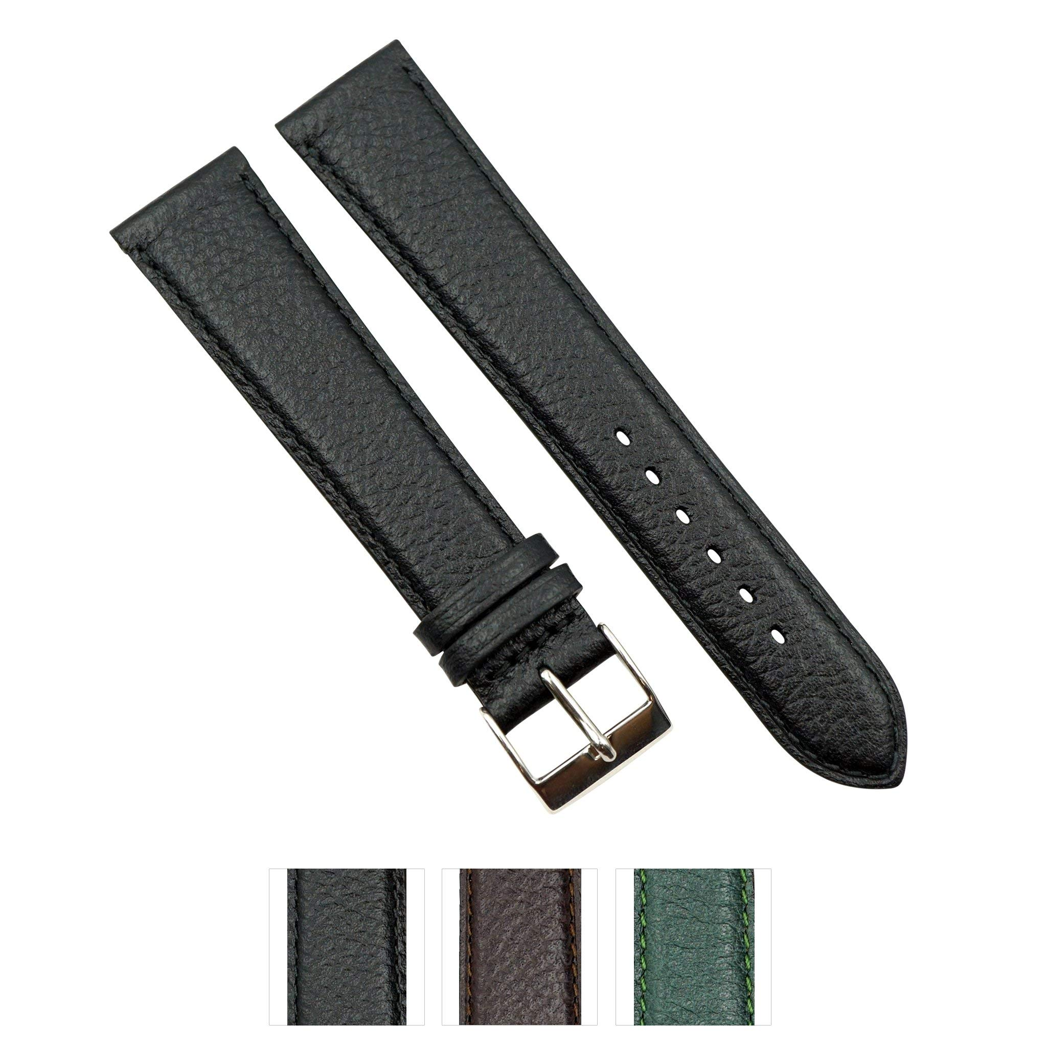 Genuine Crushed Leather Handmade in France -Black, Brown and Green in Sizes (10mm - 22mm)