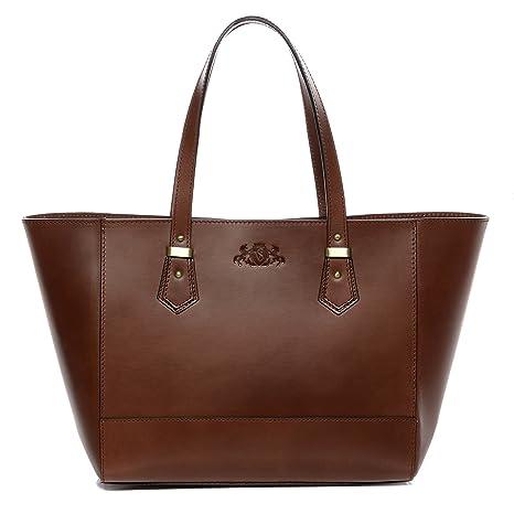 d4000692e4 Amazon.com  SID   VAIN real leather top-handle tote bag TRISH large  shoulder bag handbag leather bag women´s bag brown  myBagFactory - leather  goods   ...