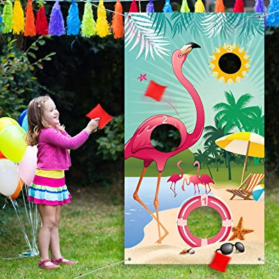 Carnival Toss Game Flamingo Toss Games with 3 Nylon Bean Bags, Flamingo Backdrop Toss Games Banner for Flamingo Theme Party Birthday Party Decoration: Toys & Games