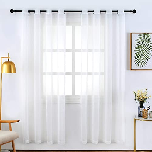 Bermino Faux Linen Sheer Curtains Voile Grommet Semi Sheer Curtain