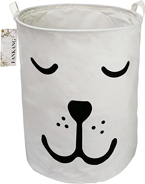FANKANG Storage Bins, Nursery Hamper Canvas Laundry Basket Foldable with Waterproof PE Coating Large Storage Baskets for Kids Boys and Girls, Office, Bedroom, Clothes,Toys (Dog)