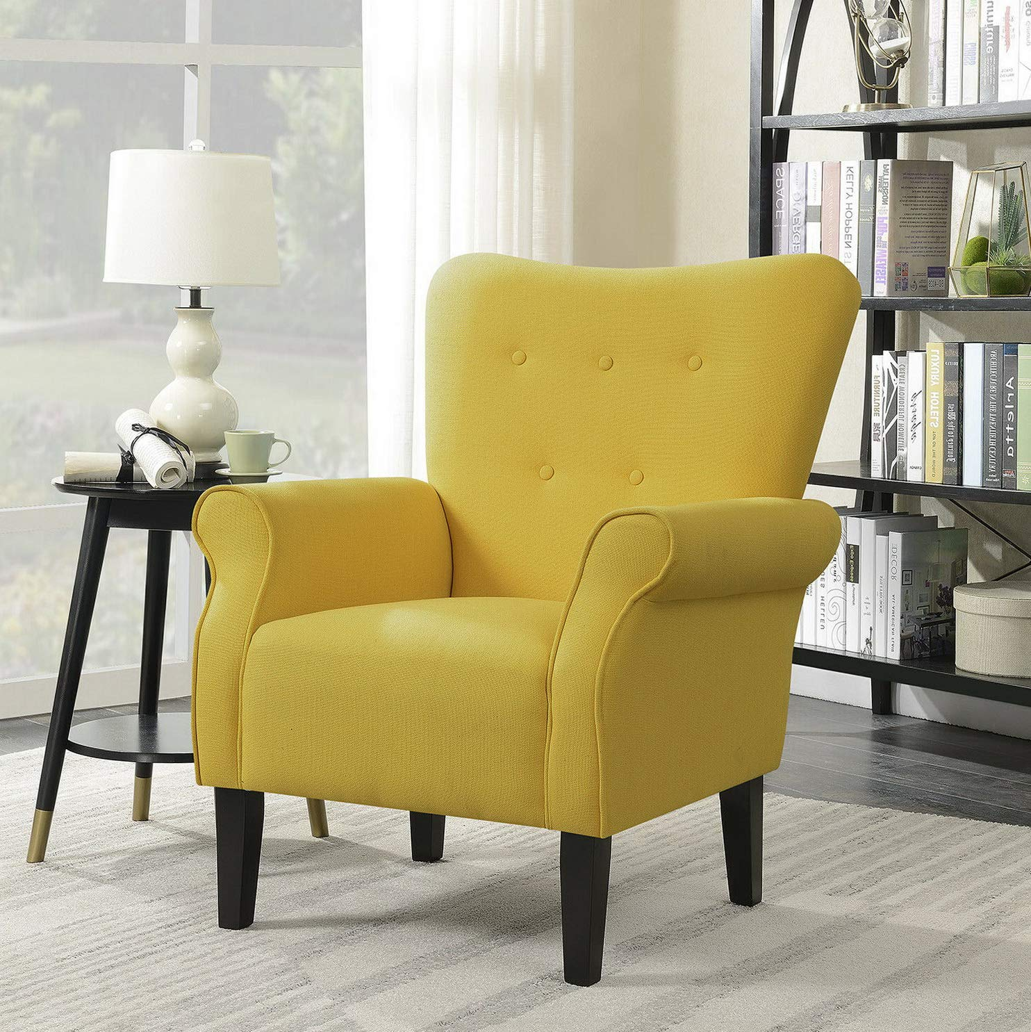 Amazon.com: Hebel Button Back Armchair Accent High Back Living Room Bedroom Upholstered Linen | Model CCNTCHR - 466 |: Kitchen & Dining