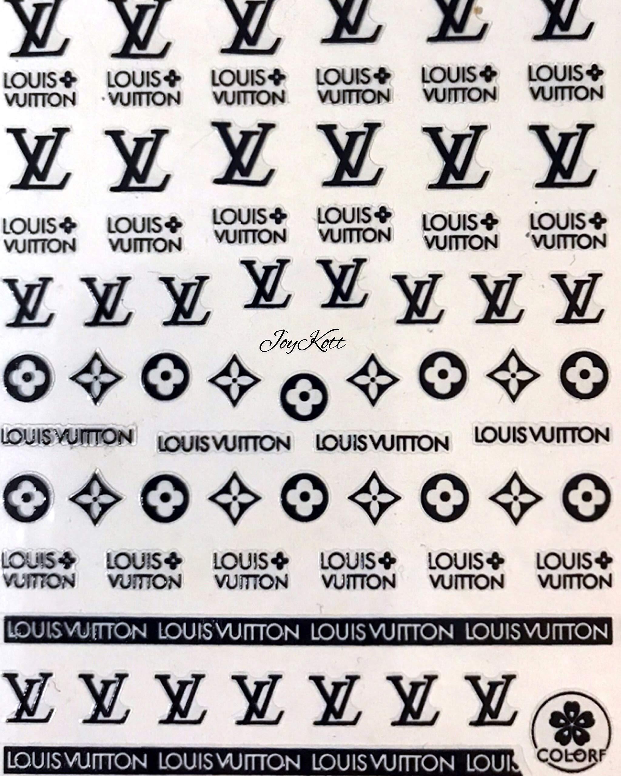 JoyKott Luxury Brand Nail Art Sticker LV (Black) by JoyKott