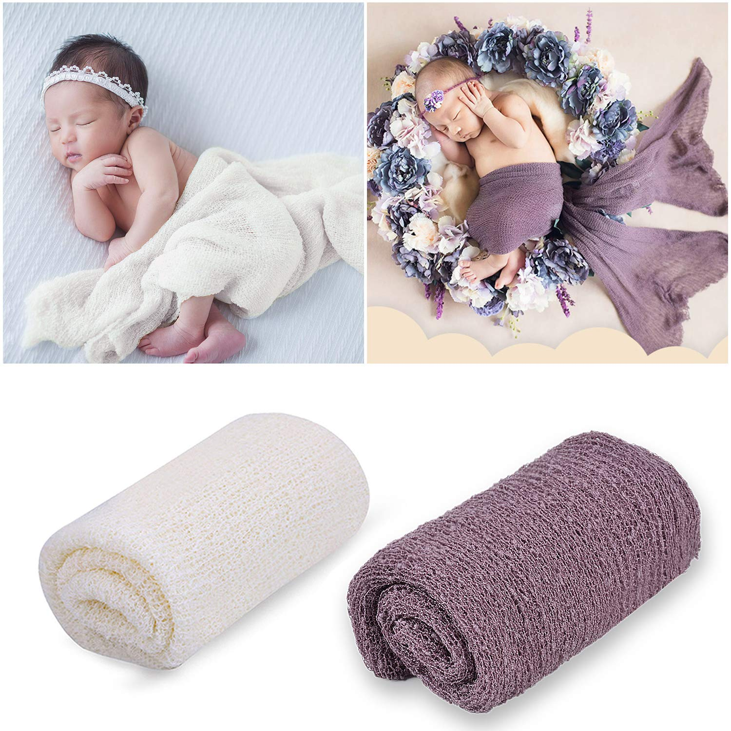 Newborn Photography Props, Aniwon Baby Photo Props Long Ripple Wraps Blanket Wraps for Baby Boys Girls (Grey & Milk White)