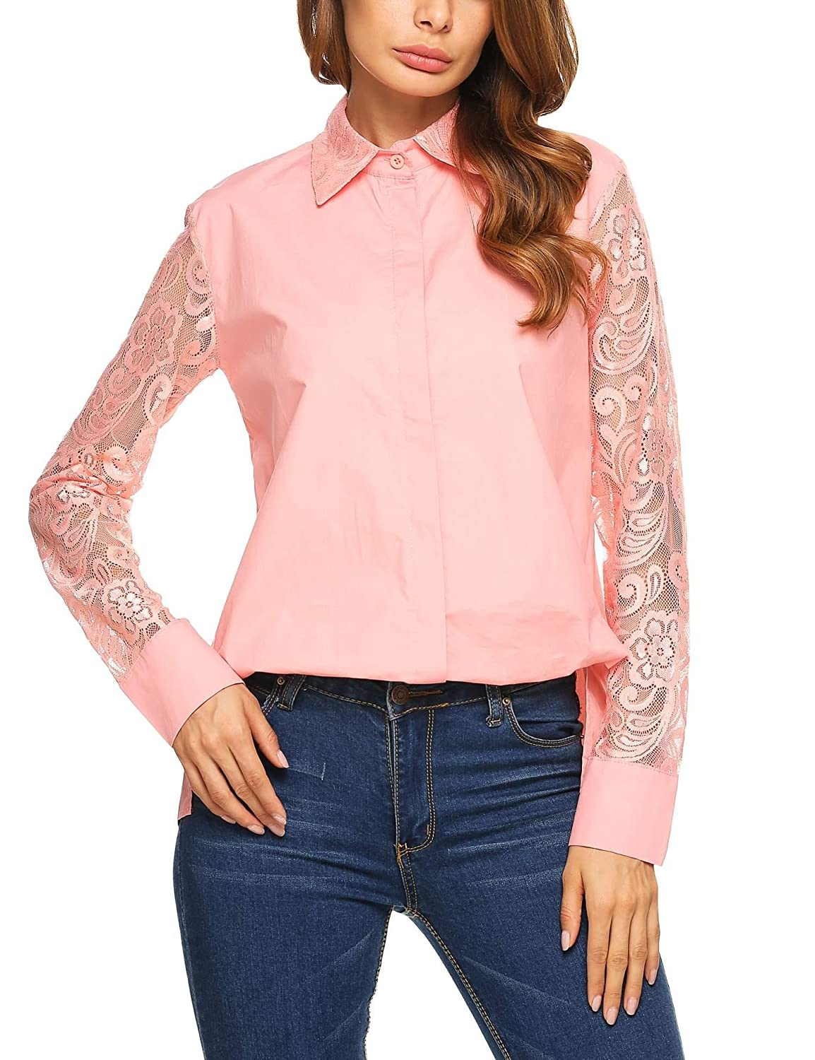 8fc0e2149 SE MIU Women Long Sleeve Turn Down Lace Collar Patchwork Shirt Blouse  Button Up High Low Pocket Tank Work Tops at Amazon Women's Clothing store: