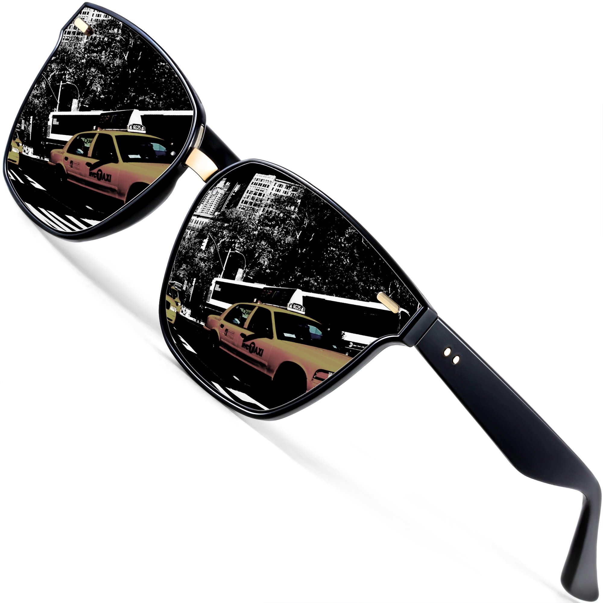 ATTCL Unisex Wayfarer Sunglasses 100% Polarized UV Protection 555-Black