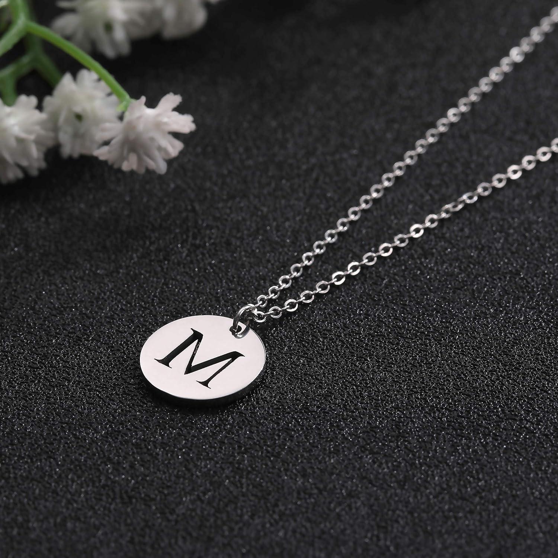 VASSAGO Stainless Steel Initial 26 Letter Round Disc Double Side Alphabet Pendant Necklace A-Z for Women Men