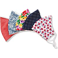Stylish Cotton Face Mask with Filter Pocket, Handmade Floral Plaid design facemasks for women, washable reusable 3…