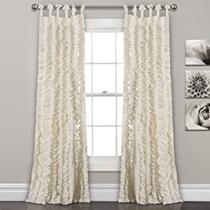 "Lush Decor, Ivory Sophia Ruffle Curtain | Textured Window Panel Set for Living, Dining Room, Bedroom (Pair), 84"" x 40, 84"" x 40"""