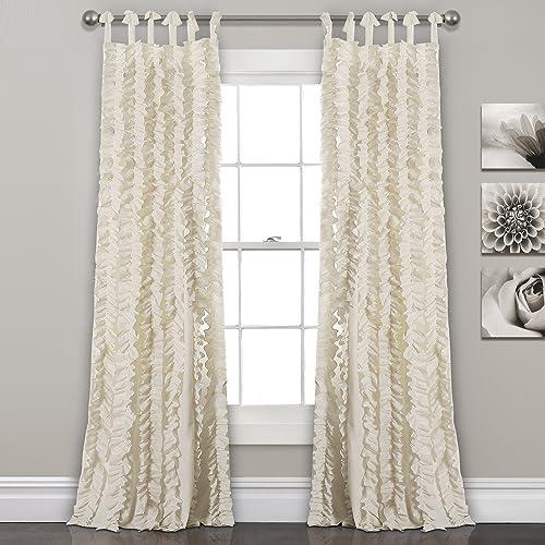 Lush Decor, Ivory Sophia Ruffle Curtain Textured Window Panel Set for Living, Dining Room, Bedroom Pair , 84 x 40, 84 x 40