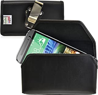 product image for Turtleback Belt Case Made for HTC One M8 Black Holster Leather Pouch with Heavy Duty Rotating Ratcheting Belt Clip Horizontal Made in USA