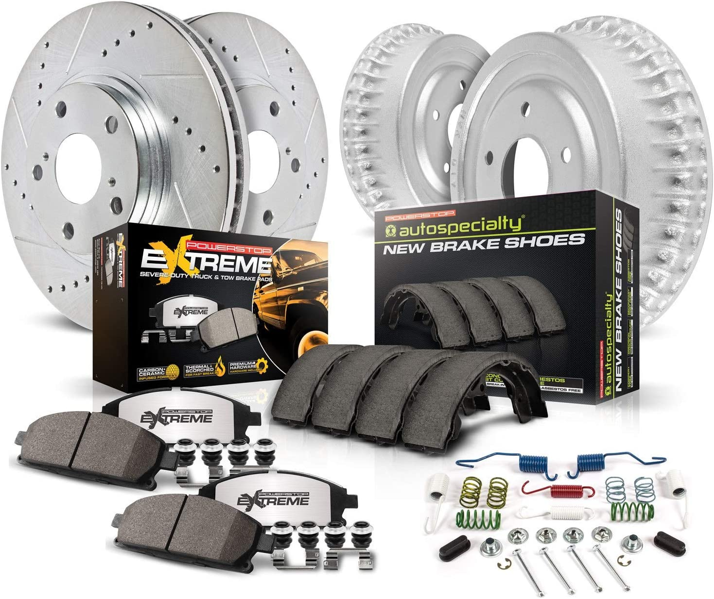 Z36 Truck /& Tow FrontCarbon Fiber Ceramic Brake Pads with Hardware Power Stop Z36-2184