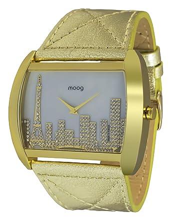 Aus Paris Mit Goldenem 001 ZifferblattSwarovski Skyline Elementsamp; Echtem Leder M41882 Perlmutt Armband Weißem Uhr Moog Damen uZTlwiXkOP
