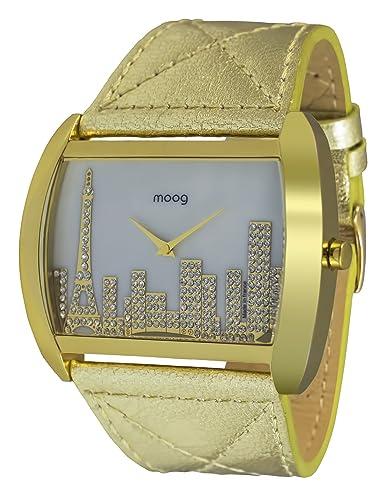 Moog Paris Skyline Reloj para Mujer con Esfera Nácar Blanca, Correa Dorada de Piel Genuina y Cristales Swarovski - M41882-001: Amazon.es: Relojes