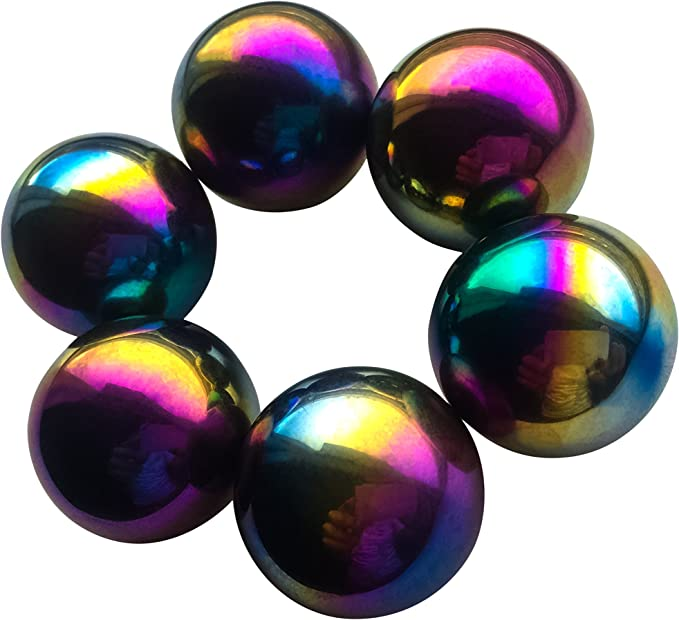 Fidget Toys for Anxiety Hematite Rattle Snake Fidget Magnets Faxadella 6 Pieces of 1.26 Sphere Magnet RainbowMagnets