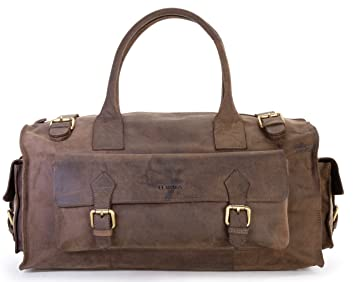 LEABAGS Oslo sac de voyage rétro-vintage en véritable cuir de buffle - Noix de muscade noDzki