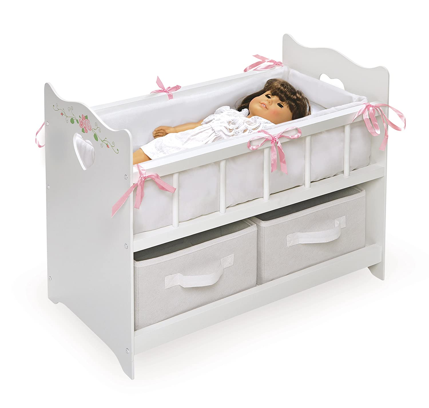 Charmant Amazon.com: Badger Basket White Rose Doll Crib Two Baskets (fits American  Girl Dolls): Toys U0026 Games