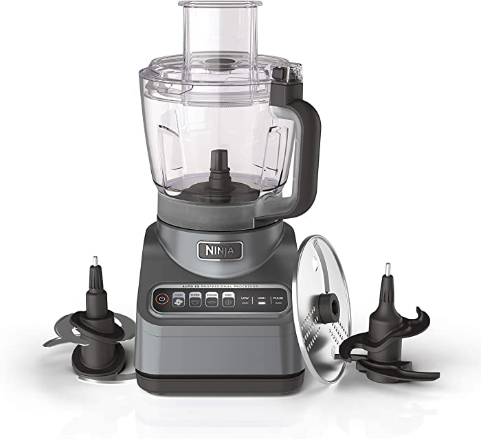 Ninja BN601 Professional Plus Food Processor 1000-Peak-Watts with Auto-iQ Preset Programs Chop Puree Dough Slice Shred with a 9-Cup Capacity and a Silver Stainless Finish (Renewed)