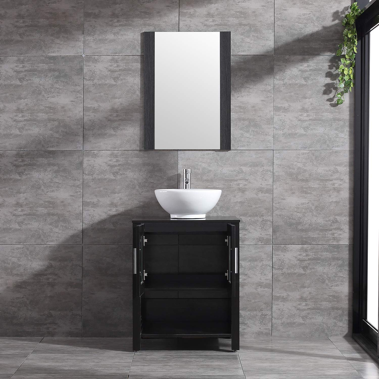 WONLINE 24/'/' Black Modern Bathroom Vanity with Shelf Adjustable Feet /& Vessel Sink Faucet Mirror Combo