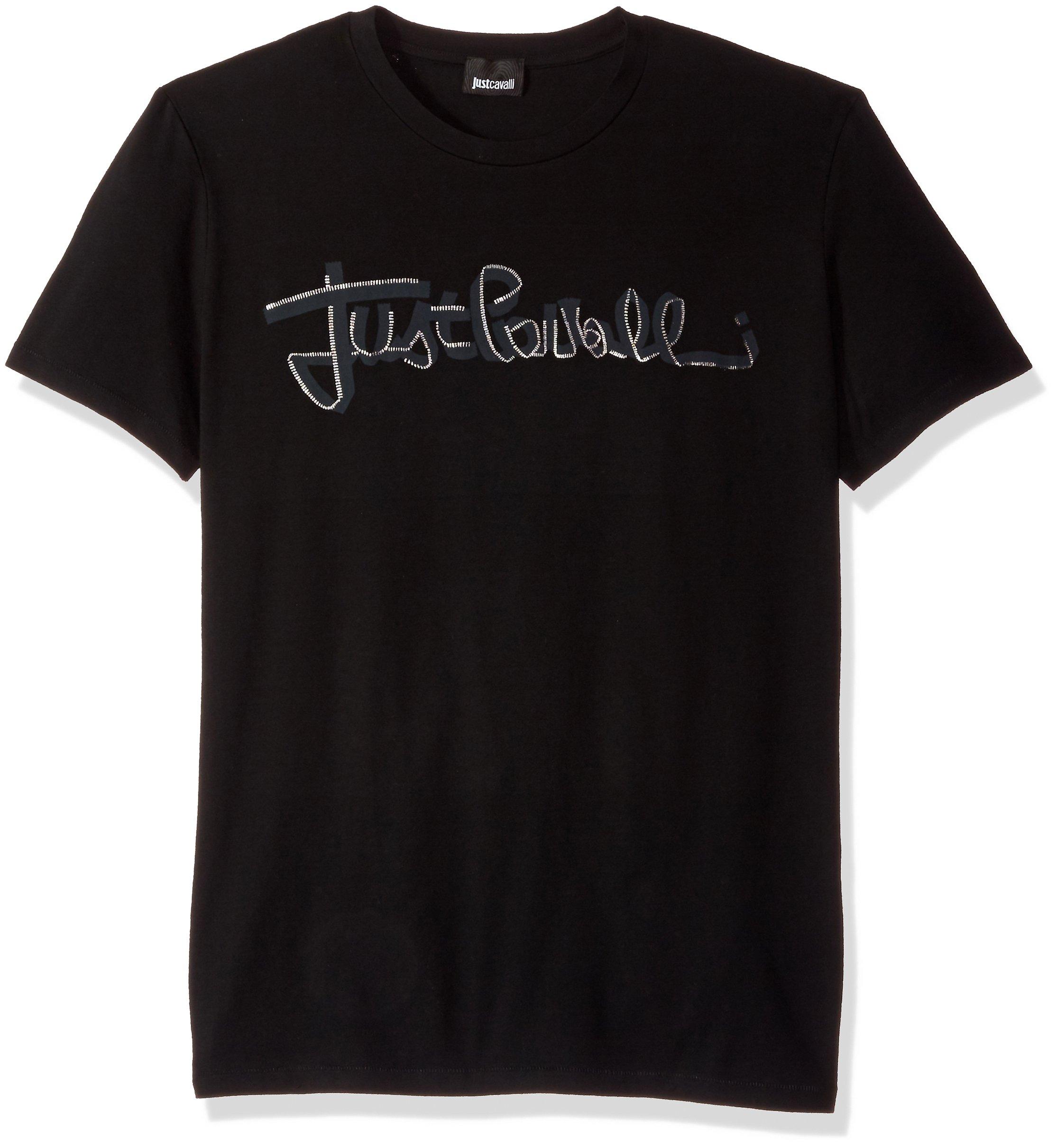 Just Cavalli Men's Basic Signature Tee, Black, L