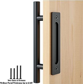 faithland Pull y Flush tirador de puerta Set en negro puerta corrediza de granero Hardware mango: Amazon.es: Bricolaje y herramientas