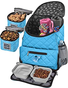 Mobile Dog Gear, Dog Travel Bag, Deluxe Quilted Weekender Backpack, Includes Lined Food Carriers and 2 Collapsible Dog Bowl, Light Blue