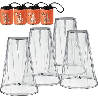 Hestya 4 Piezas de Mosquitera de Cabeza Malla Red de Proteger Cabeza para Prevención de Insectos Mosquito de Senderismo Acampar Escalada al Aire Libre