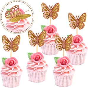 Ercadio 24 Pack Double Layers Butterfly Cupcake Toppers Assembled Gold and Rose Gold Glitter Butterfly Cupcake Picks Decorations for Baby Shower Kids Birthday Party Supplies