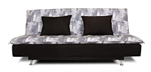 adorn india alenza 3 seater sofa cum bed digitel print (grey)