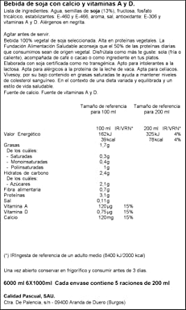 Vivesoy Bebida de Soja Sabor Natural Pack, 6 x 1L: Amazon.es ...