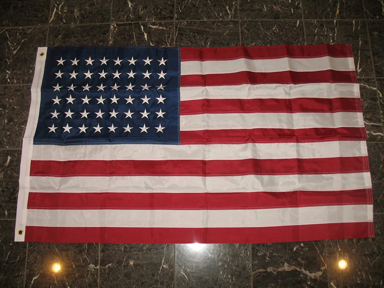 3x5 Embroidered USA American 48 Star Sewn Nylon Flag Stars 3/'x5/' Old Glory