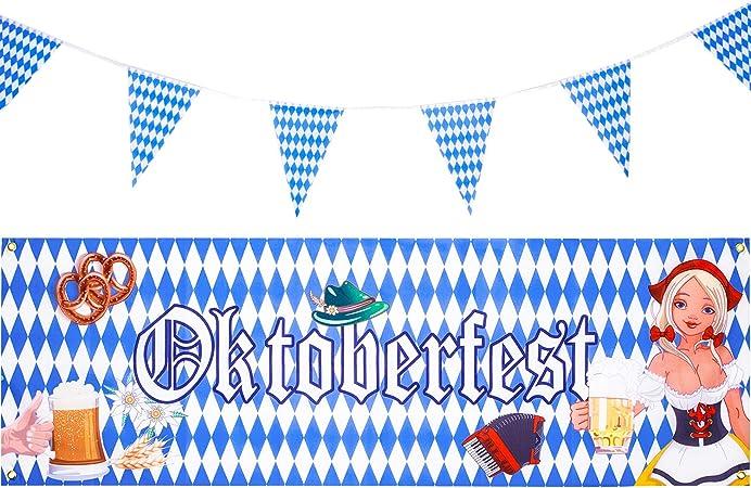 2 Piezas Bandera de Oktoberfest Estandarte del Banderín Bávaro para Decoraciones Colgantes de Fiesta de Oktoberfest: Amazon.es: Juguetes y juegos