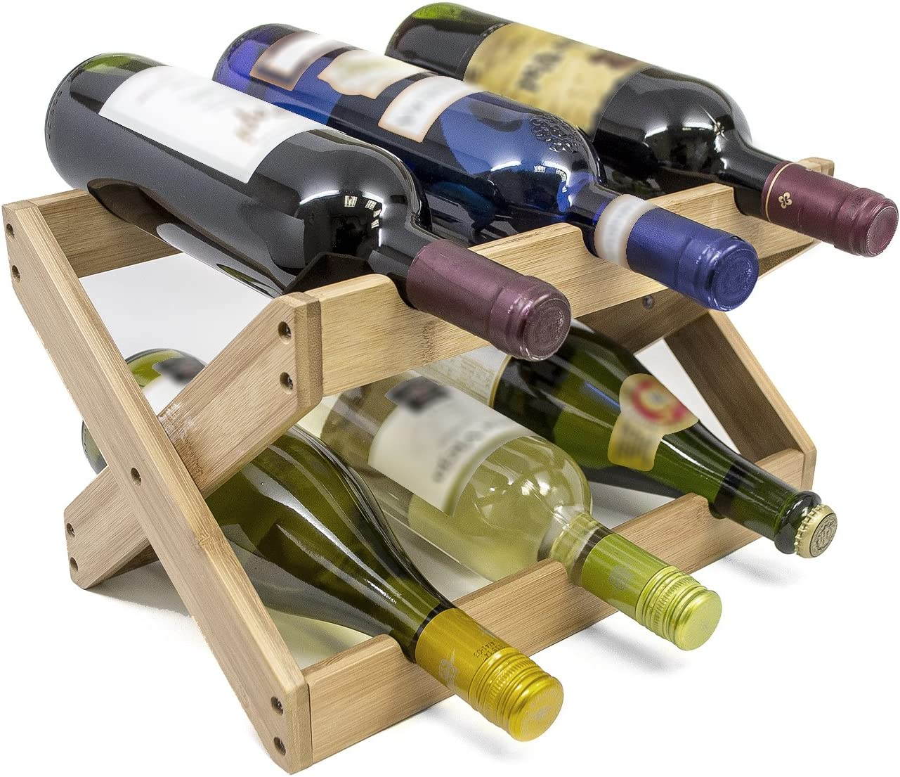 Sorbus Bamboo Foldable Countertop Wine Rack 6 Bottles Bamboo Home Kitchen