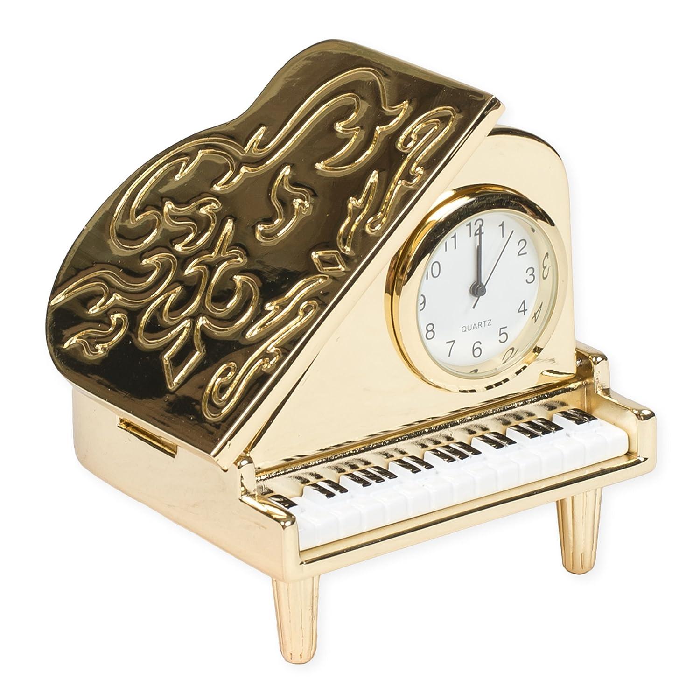 Grand Piano Miniature Replica Gold Tone 2 x 2.25 Resin Stone Tabletop Clock Broadway Gift Co.
