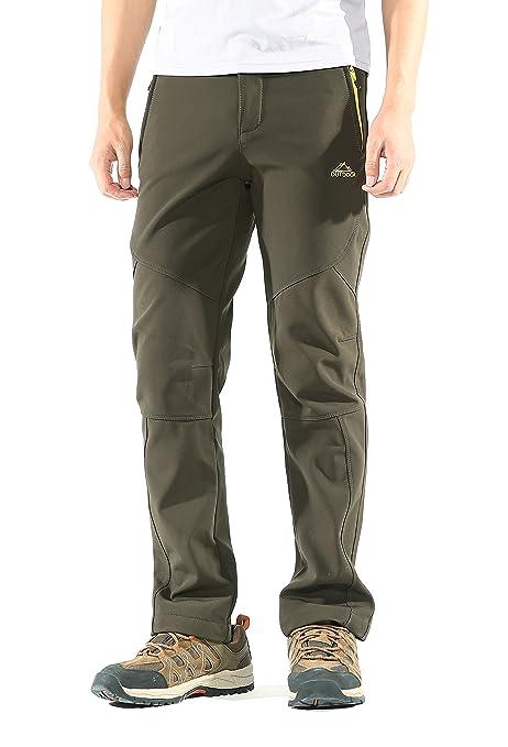 KORAMAN Mens Insulated Water-Resistant Pants Windproof Warm-up Fleece Lined  Outdoor Hiking Snow ad7c1d820