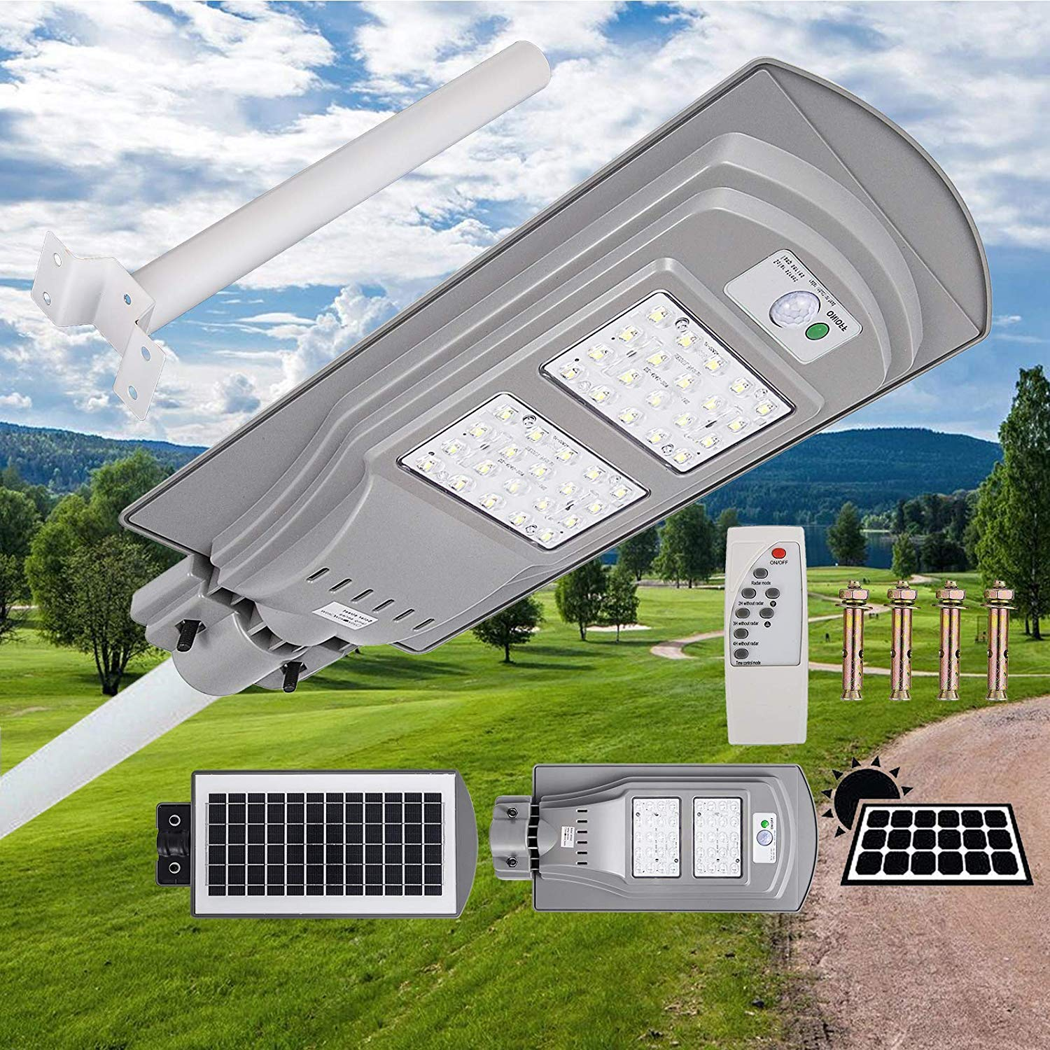 Mophorn Solar Street Light 40W LED Street Light with Remote Controller and Light Arm LED Solar Street Light Waterproof LED Radar Sensor Street Lamp for Outdoor Applications (40W, with Light Arm)