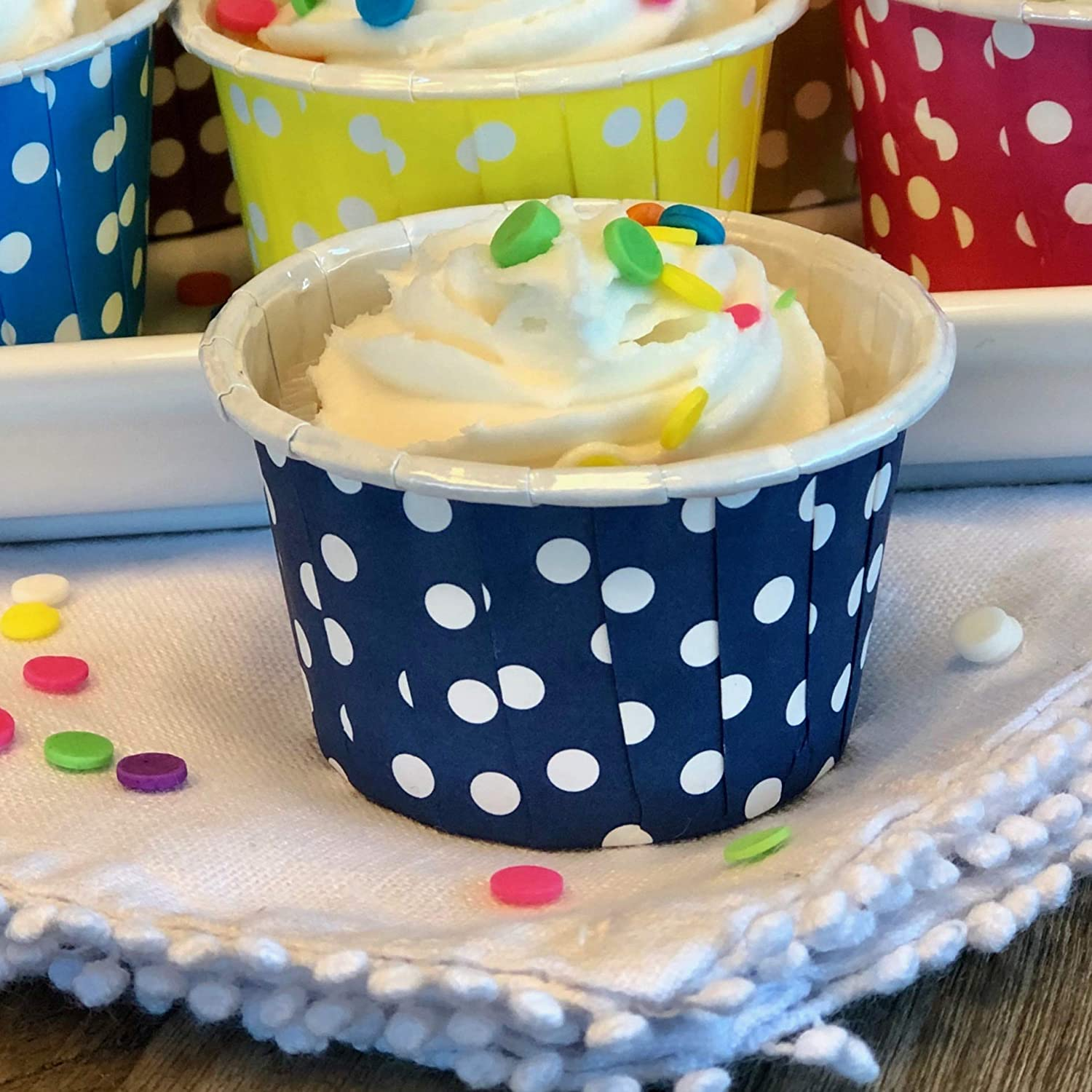 48 Pack Candy Nut Mini Baking Cups 2 x 1.5 Inches Navy Blue and Silver