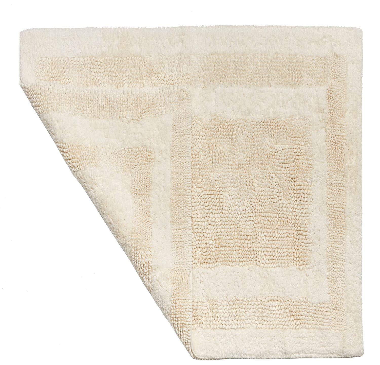 1 Piece 30 X 48 Vanilla White Hydro Soft Bath Rug, Ice Large Solid Color Plush Super Soft Comfort Mat Reversible Fast Drying Absorbent Step Out Shower Sink Jack And Jill Bathroom Bathmat Luxury Cotton