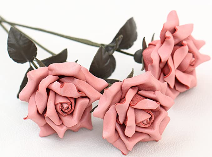 Amazon.com: Leather rose bouquet pink leather flower third 3rd ...