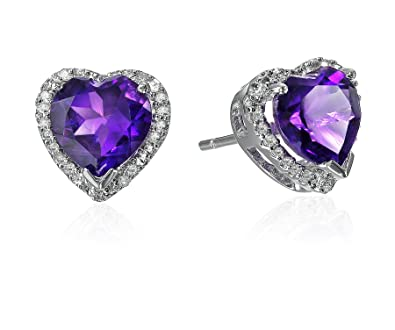 d2112378a Amazon.com: 10K White Gold Amethyst Heart with Diamond Accent ...