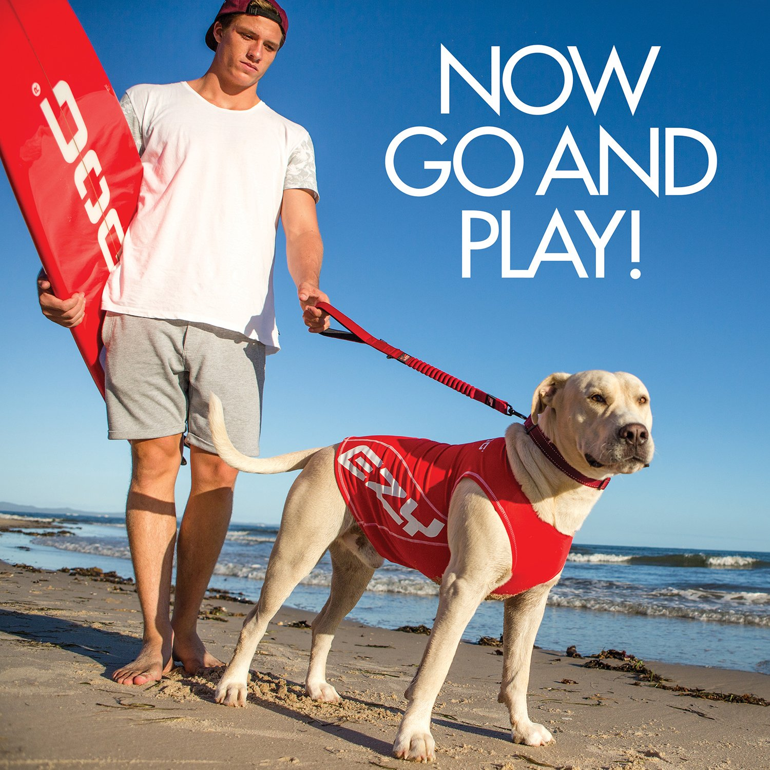 EzyDog Rashguard Vest - Premium Dog Shirt Allowing All-Day Water Use - Tested to Provide 50+ UV Protection - Innovative Designfor a Snug, Comfortable Fit (X-Large, Red) by EzyDog