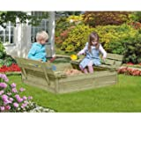Bac à sable en bois de 120x120 cm avec couvercle rabattable et bancs de Gartenpirat®