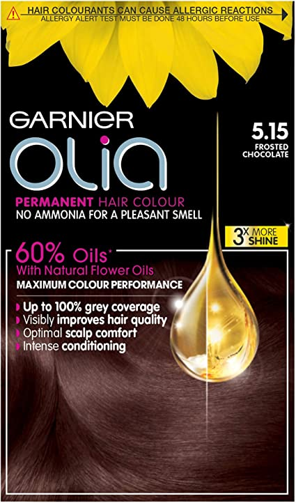 Garnier Olia Chocolate Brown Hair Dye Permanent Up To 100 Grey Hair Coverage No Ammonia For A Pleasant Scent 60 Oils 5 15 Frosted Chocolate Brown Amazon Co Uk Beauty