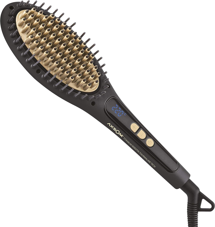 Cepillo Alisador Tutto Plus TKT de Axsom, Cepillo Alisador Eléctrico con Revestimiento cerámico avanzado de Titanio aceite de Queratina y Turmalina Ingeniería para el cuidado y protección del cabello