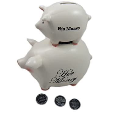 Funny Wedding/Bridal Shower Gift His/Her Ceramic Piggy Bank 8 Inch with 3 Token Coins by Young's
