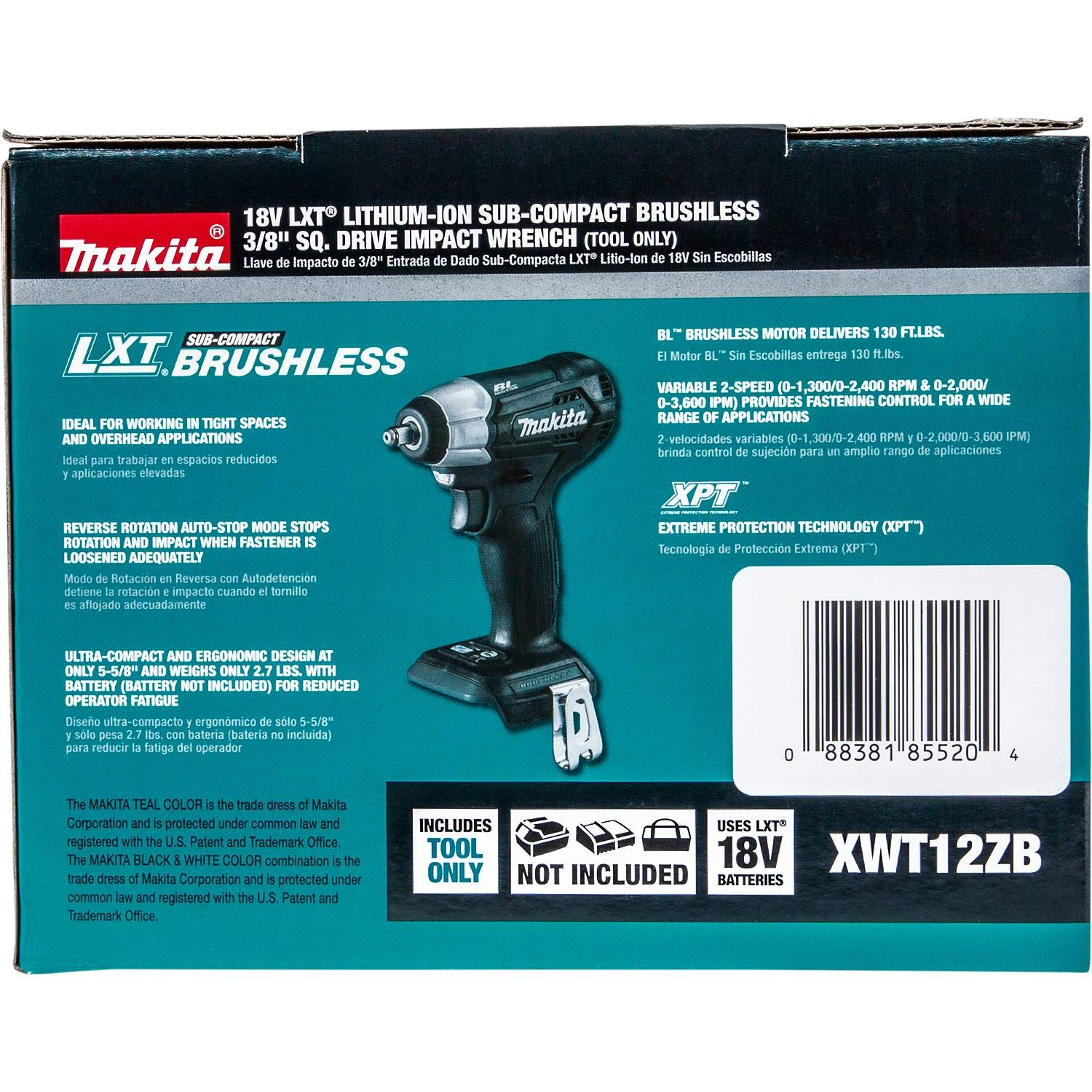 Makita XWT12ZB 18V LXT Lithium-Ion Sub-Compact Brushless Cordless 3/8'' Sq. Drive Impact Wrench, Tool Only by Makita (Image #9)