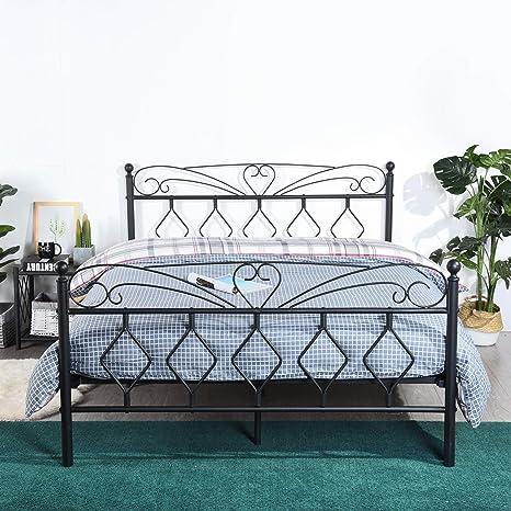 Marco de Cama de Metal con Soporte de Listones de Madera, Base de colchón de Plataforma Moderna, no Necesita somier, cabecero y diseño de Estribo