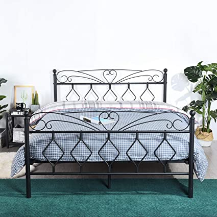 Awesome Eggree Full Size Bed Frame Wooden Slat Support Metal Platform Bed Mattress Foundation Box Spring Replacement With Victorian Style Headboard And Alphanode Cool Chair Designs And Ideas Alphanodeonline
